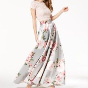 Speechless 2pc blush lace/grey floral prom dress